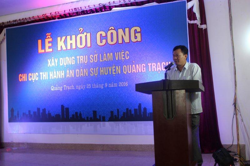 Lễ khởi công Dự án Xây dựng trụ sở làm việc Chi cục thi hành án dân sự huyện Quảng Trạch, tỉnh Quảng Bình